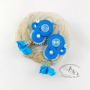 Flowery błękitne kolczyki sutasz Swarovski