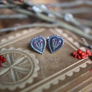 Folklorystyczne spinki do mankietów - srebro