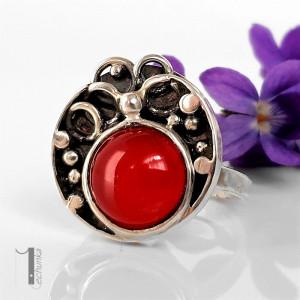 Fragaria srebrny pierścionek z agatem brazylijskim