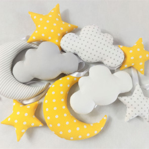 Girlanda z chmurkami :)  żółto-biało-szara