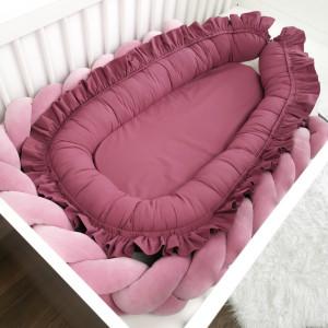 Gniazdko niemowlęce z falbanką ciemny wrzos XL