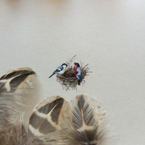 Gniazdo vintage, miniatura ręcznie malowana