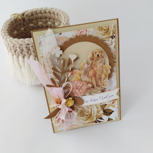 Golden Retriever- kartka urodzinowa boho/ hippie