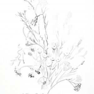 Grafika czarno biała A4, minimalizm, kwiaty