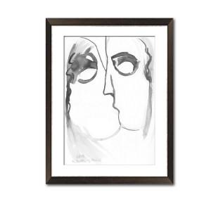 Grafika pocałunek 13,malowana ręcznie A3