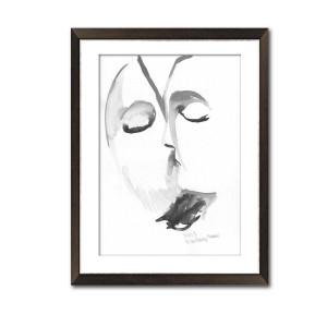 Grafika pocałunek 16, malowana ręcznie, format A3