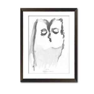 Grafika pocałunek 17, czarno biała, format A3
