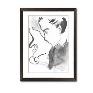 Grafika pocałunek 18, ręcznie malowana, format A3