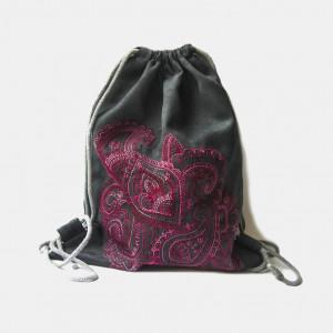 Grafitowy plecak z haftem