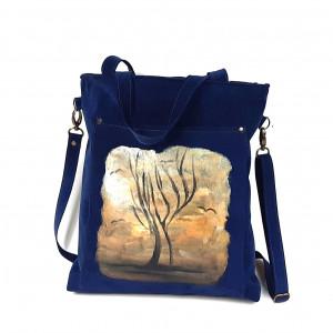 Granatowa, ręcznie malowana listonoszka
