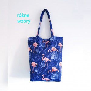 Granatowa torba z tk. wodoodp. w różowe flamingi