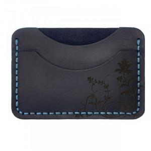 Granatowy portfel na karty z prawdziwej skóry
