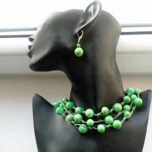 Green  -  Naszyjnik ze sznurka i szkła