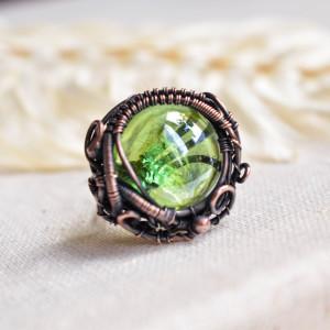 Green nest - pierścionek z miedzi i szkła