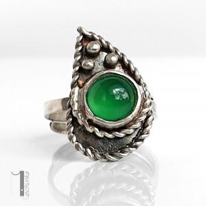 Greenheart srebrny pierścionek z agatem