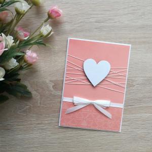 Grejpfrutowa kartka perłowe serduszko