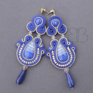 Greta - kolczyki sutasz z agatem i lapis lazuli