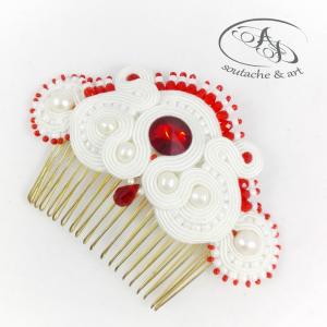 Grzebień ślubny sutasz z perłami Czerwień Biel