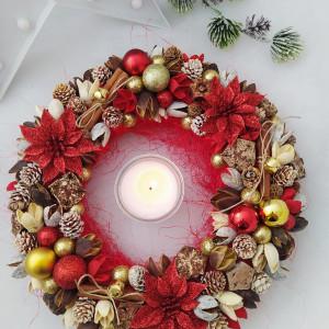 Gwiazda Betlejemska  - wianek świąteczny