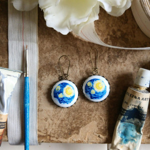 Gwiaździsta noc-fragment, van Gogh, kolczyki