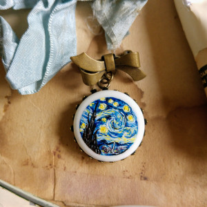 Gwiaździsta noc, van Gogh, broszka