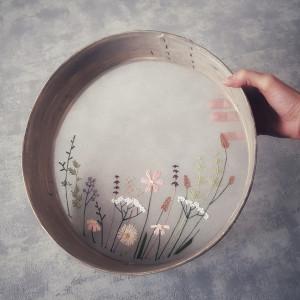 Haft na przetaku (sito) - kwiaty łąkowe