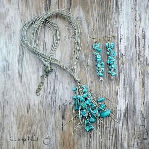 Howlit turkusowy - komplet biżuterii lnianej