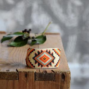 Indiańska szeroka bransoletka, plecionka