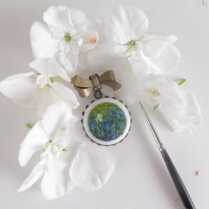 Irysy , van Gogh, porcelana broszka