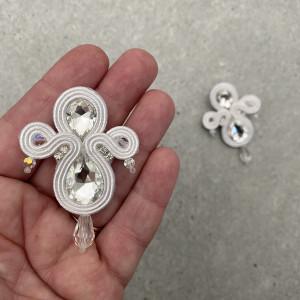 Ivory, crystal, srebrne kolczyki ślubne sutasz