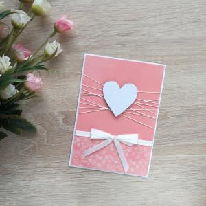 Jasnogrejpfrutowa kartka perłowe serduszko