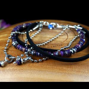 Jaspis, Srebrna bransoletka z jaspisem fiolet