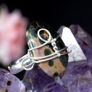 Jaspis srebrny pierścionek z jaspisem oceanicznym
