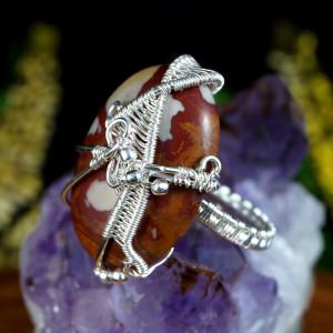 Jaspis srebrny pierścionek z jaspisem rozmiar 14