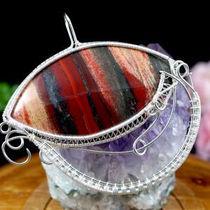 Jaspis Wisior ze srebra z jaspisem w kształcie oka
