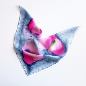 Jedwabna malowana apaszka - makowa łąka