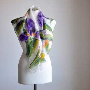 Jedwabna malowana chusta - irysy
