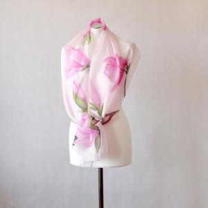 Jedwabny malowany szal - magnolie