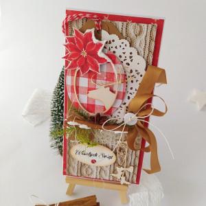 Jeleń w ramie- kartka świąteczna-seria Tradycja