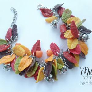 Jesienna bransoletka z listkami FIMO