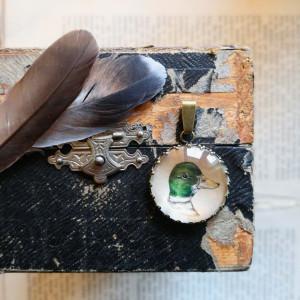 Kaczka, Ręcznie malowany naszyjnik, miniatura