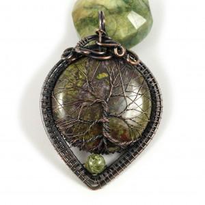 Kamień krwisty, drzewko szczęścia wisior owal