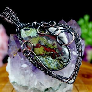 Kamień krwisty,wisior z miedzi z krwawnikiem liść