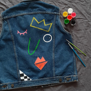 Kamizelka jeans ręcznie malowana vintage S/M