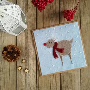 Karta świąteczna z reniferem błękit-brąz