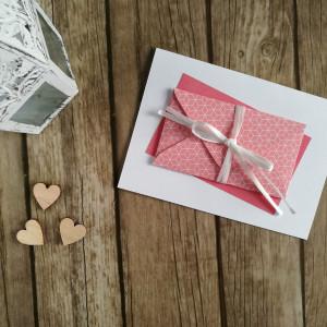 Karta z kopertą różowa geometric elegance