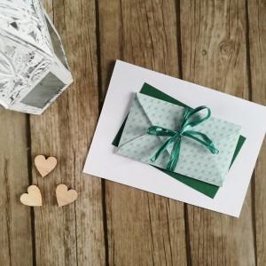 Karta z kopertą zielone łuski elegance