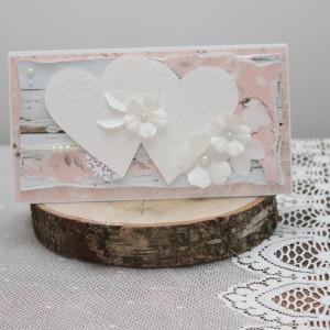 Kartka dwa białe serca