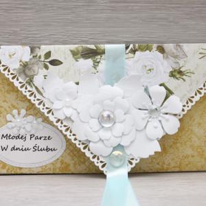 Kartka kopertówka białe kwiaty