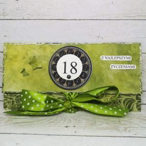 Kartka kopertówka na osiemnastkę-zieleń
